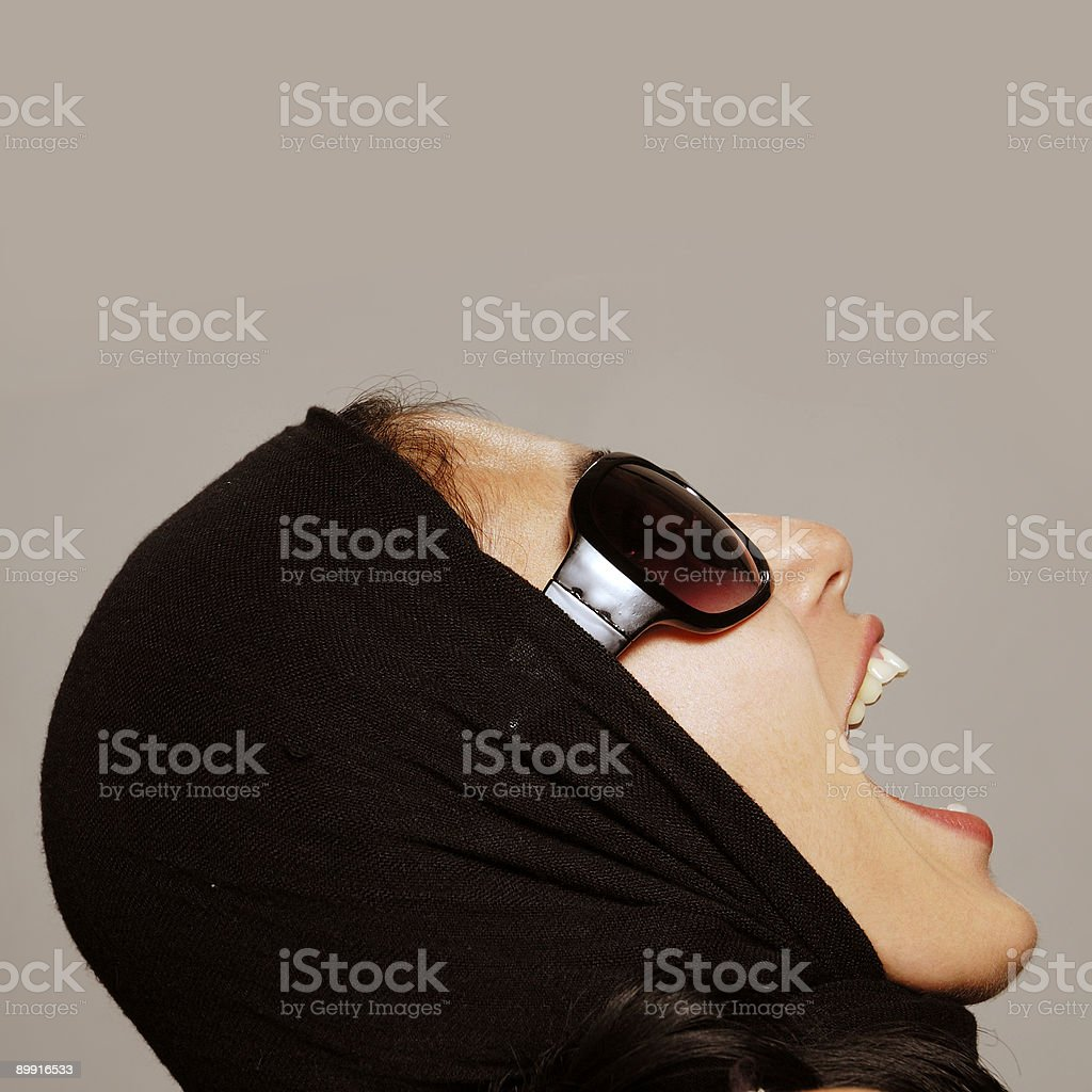 Woman Screaming and looking up royalty-free stock photo