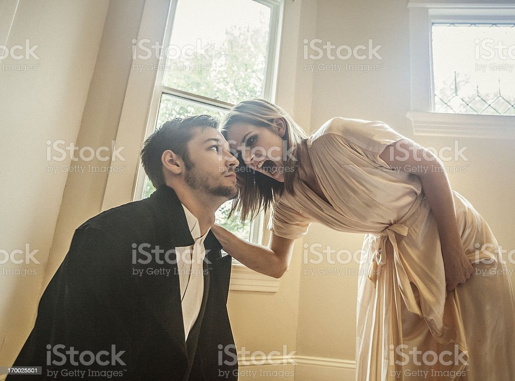 Woman screaming at man royalty-free stock photo