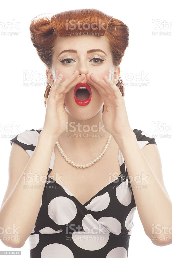 Woman screaming out loud royalty-free stock photo