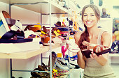 Woman searching new shoes
