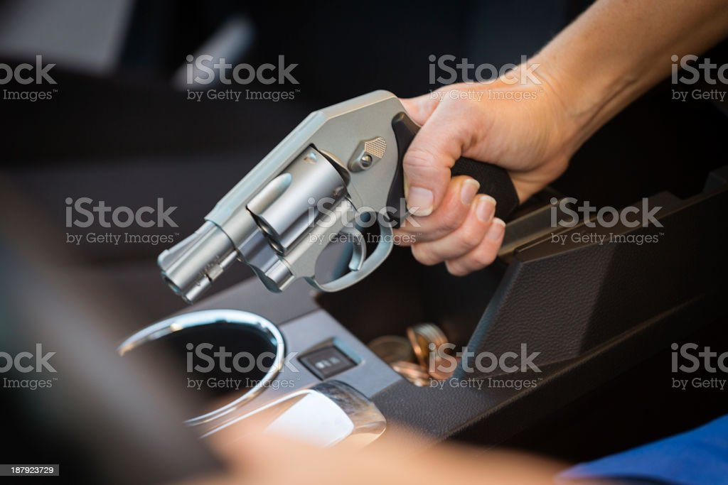 Woman Self-Defense with Handgun royalty-free stock photo