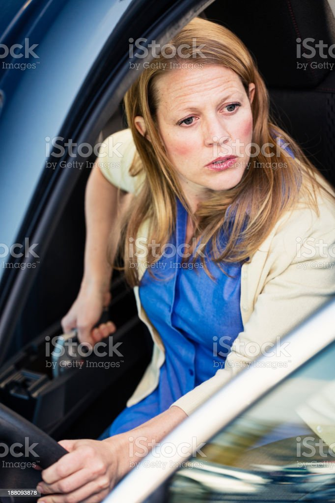 Woman Self-Defense with Handgun stock photo