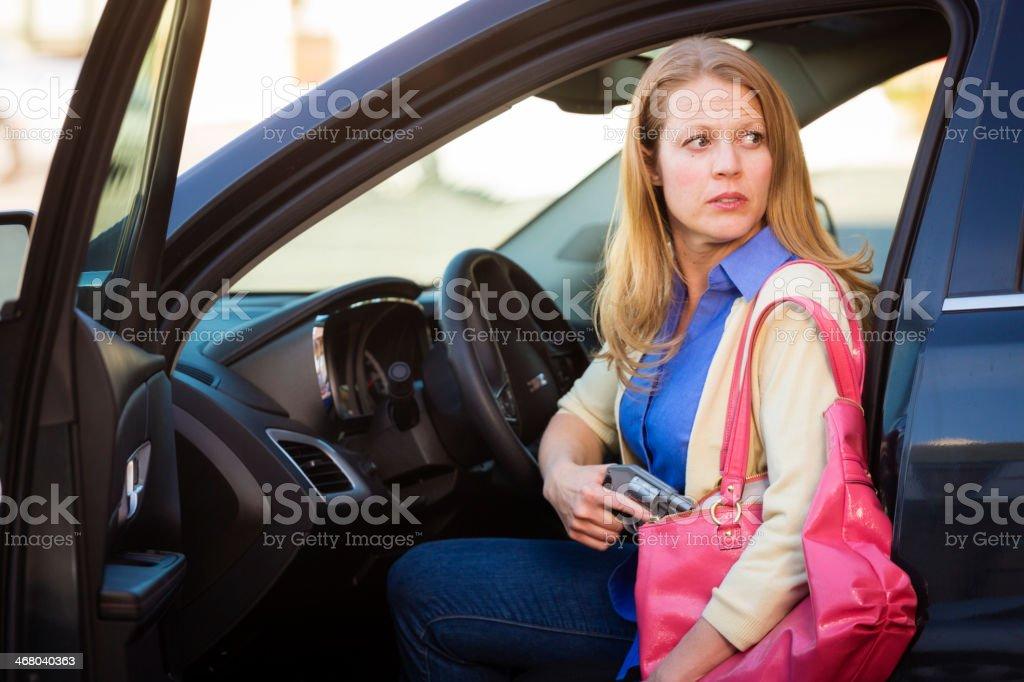 Woman Self-Defense with Handgun stock photo