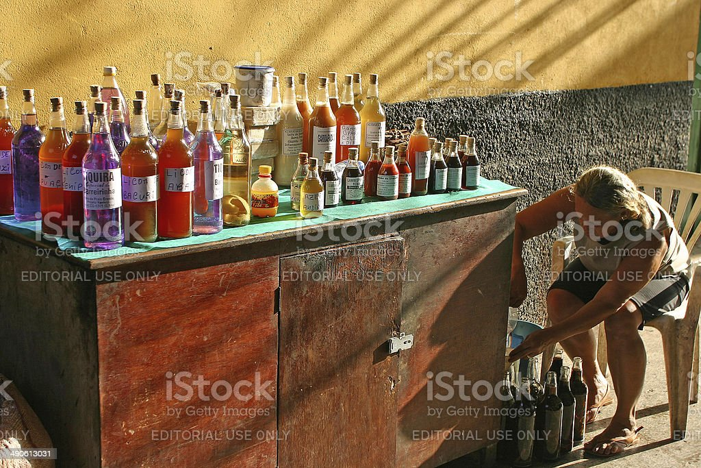 Woman selling cachaza South Brazil North est Maranhao Sao Luis stock photo