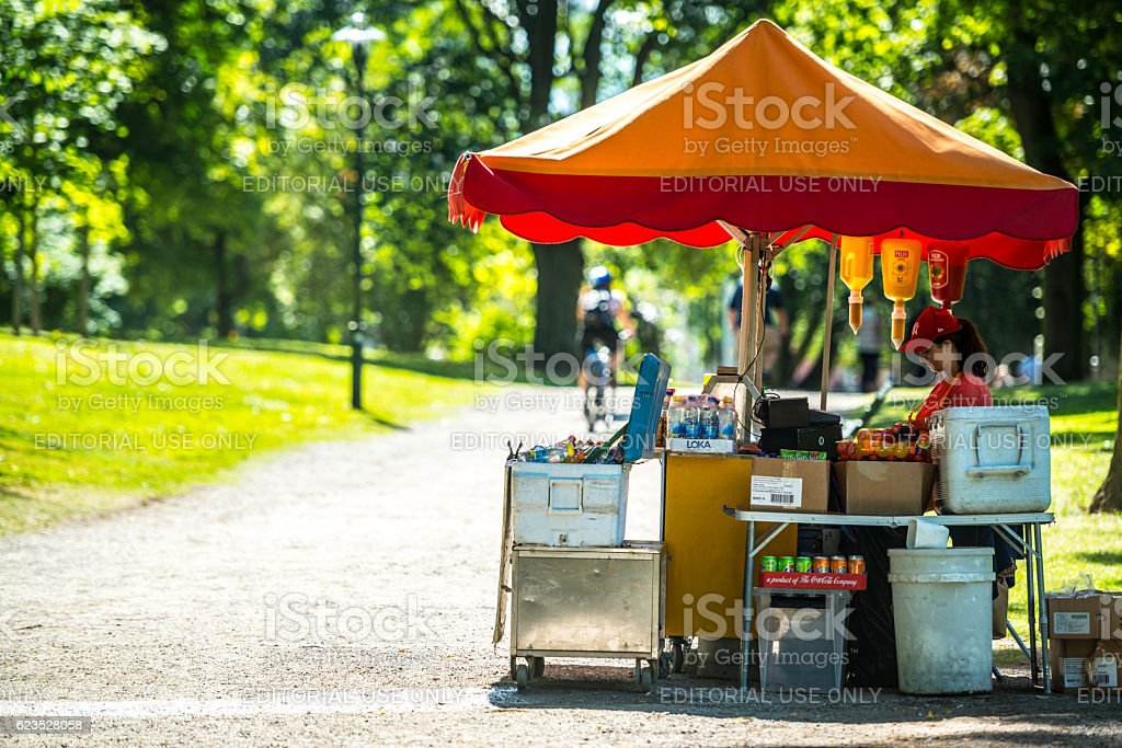 Woman selling fast food on Stockholm street, Sweden stock photo