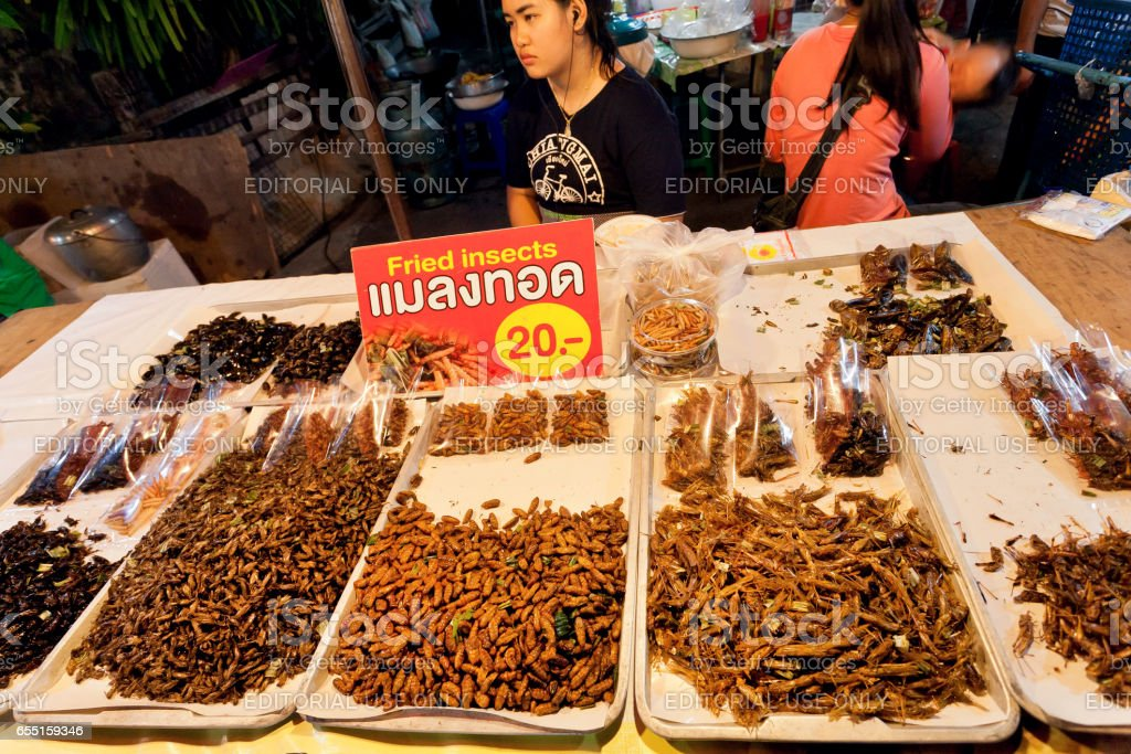 Woman selling fried grasshoppers and edible insect larvae at traditional thai night market stock photo