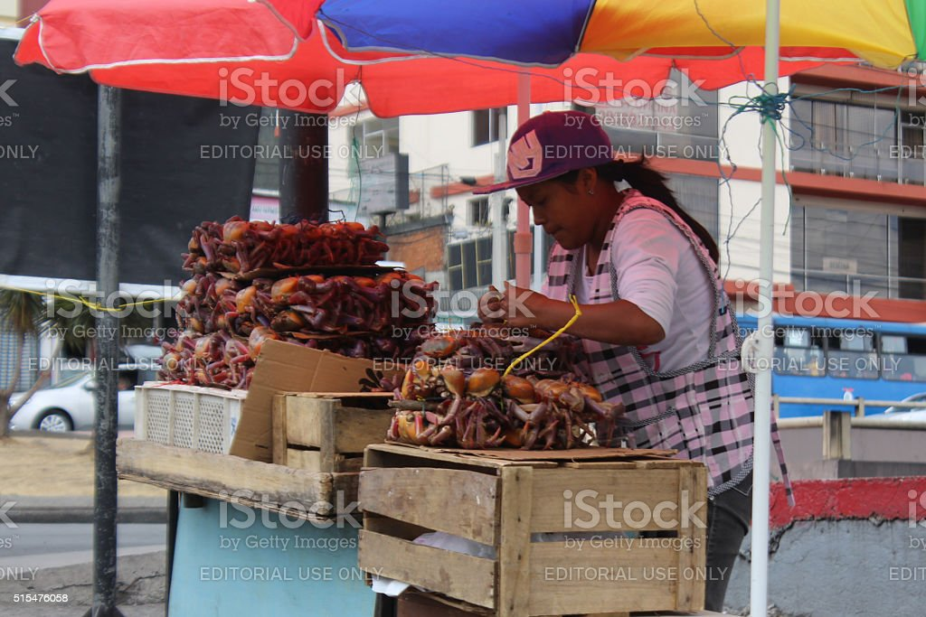 Woman selling live crabs on the streets of Quito, Ecuador stock photo