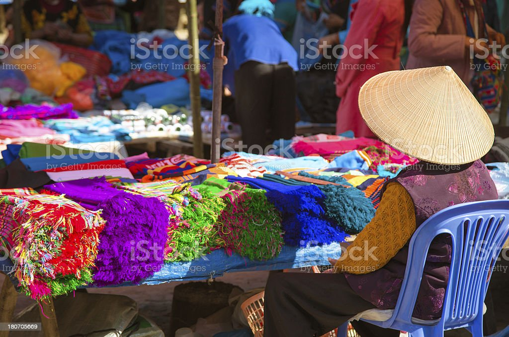 woman selling textile at Bac Ha market, Vietnam royalty-free stock photo