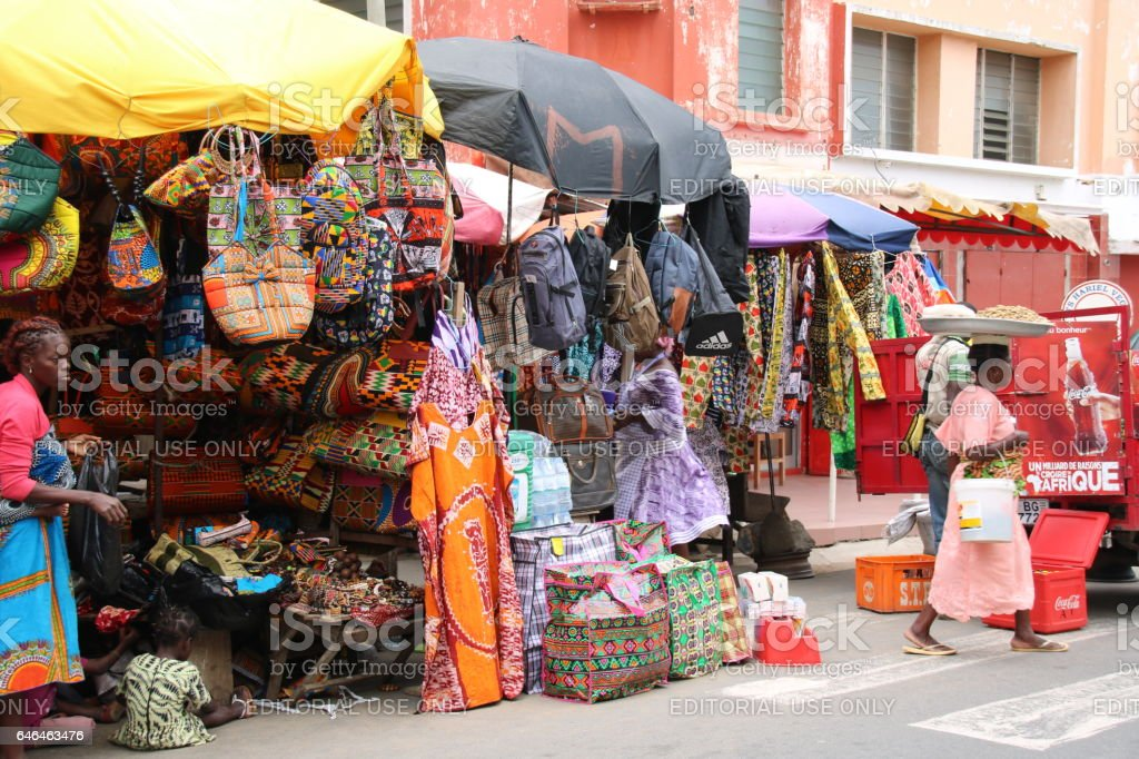 Woman sells Traditional African Textiles, Lomé, Togo, West Africa stock photo