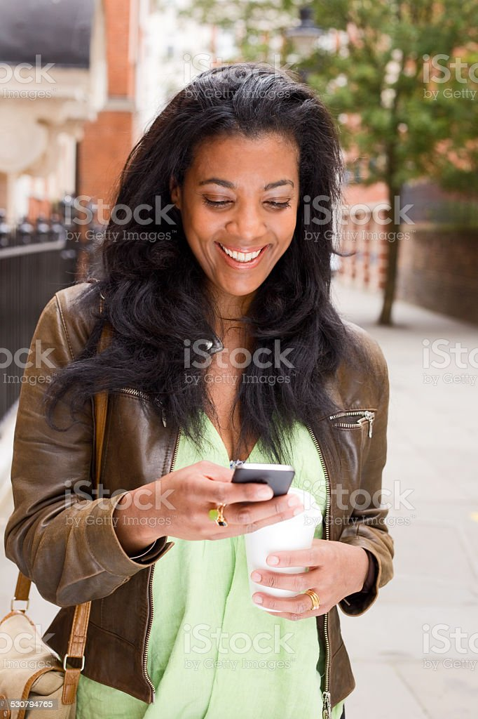 woman sending text royalty-free stock photo