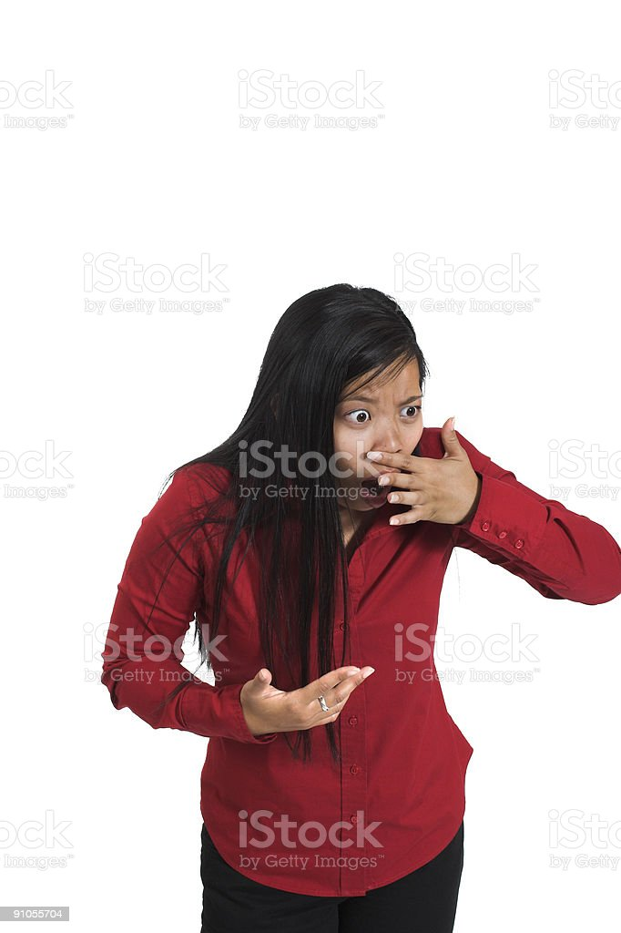 woman sensing bad smell royalty-free stock photo