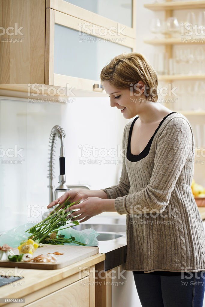 Woman Separating Organic Garbage royalty-free stock photo