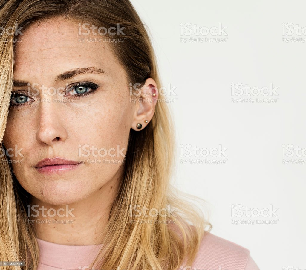 Woman Serious Studio Portrait Concept stock photo