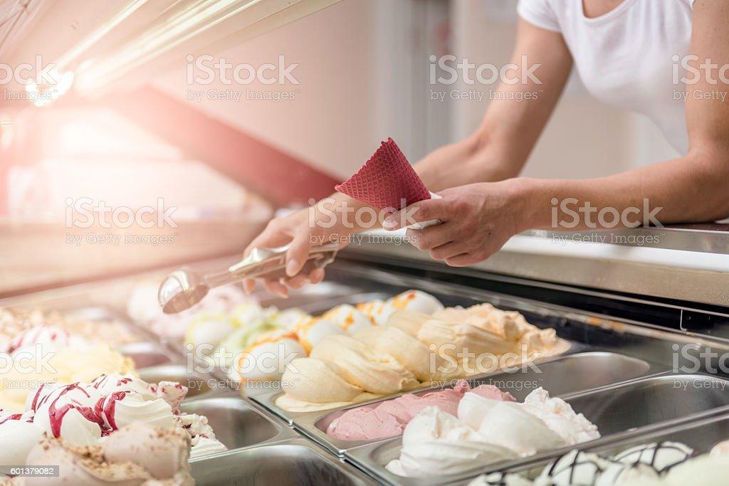 Woman serving ice cream stock photo