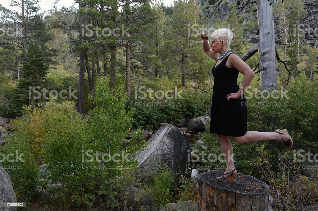 Woman Shielding Her Eyes royalty-free stock photo