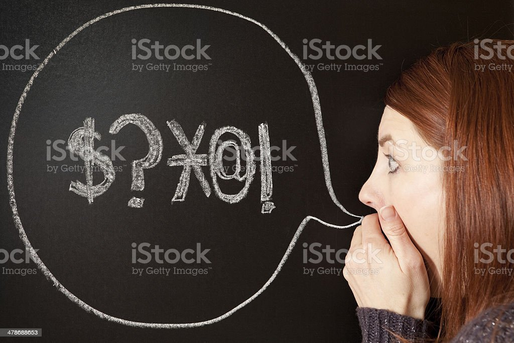 Woman Shocked By Bad Words Coming From Her Mouth stock photo