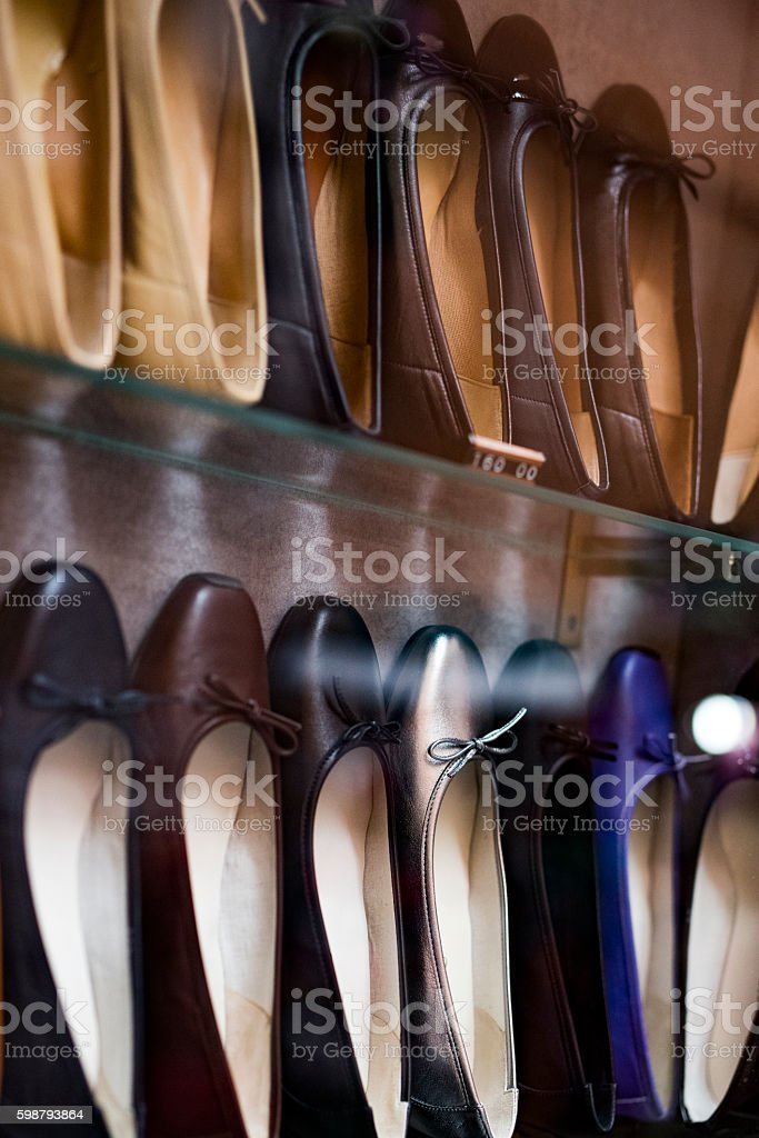 woman shoes inside store stock photo