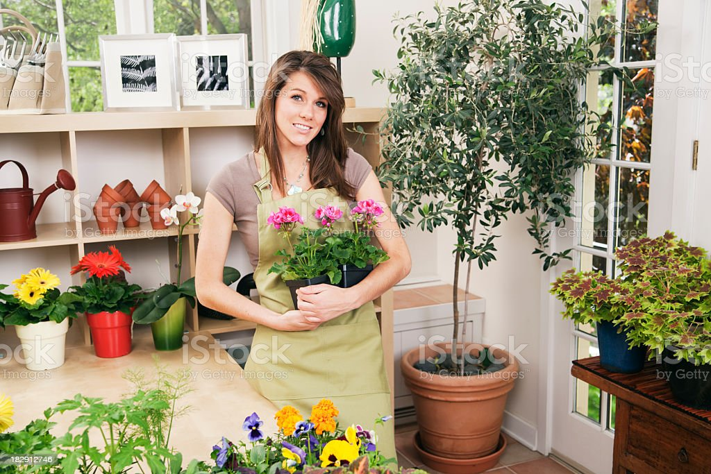 Woman Shop Owner of Small Business Retail Flower Store Hz royalty-free stock photo