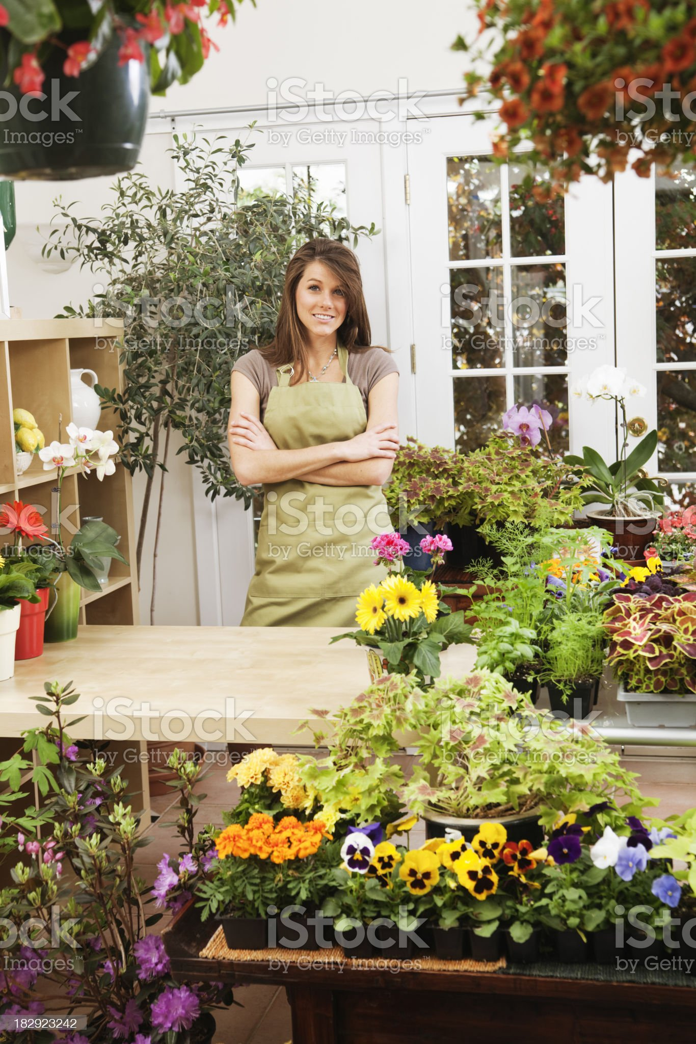 Woman Shop Owner of Small Business Retail Flower Store Vt royalty-free stock photo