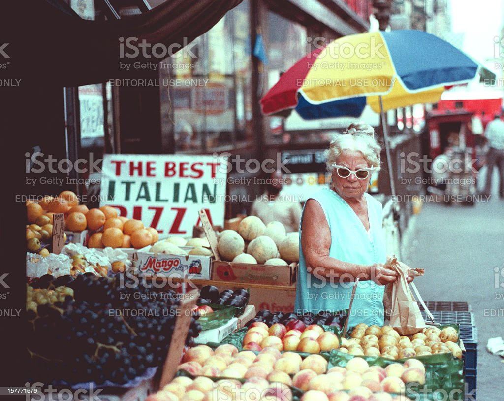 Woman Shopper City Fruit Stand stock photo