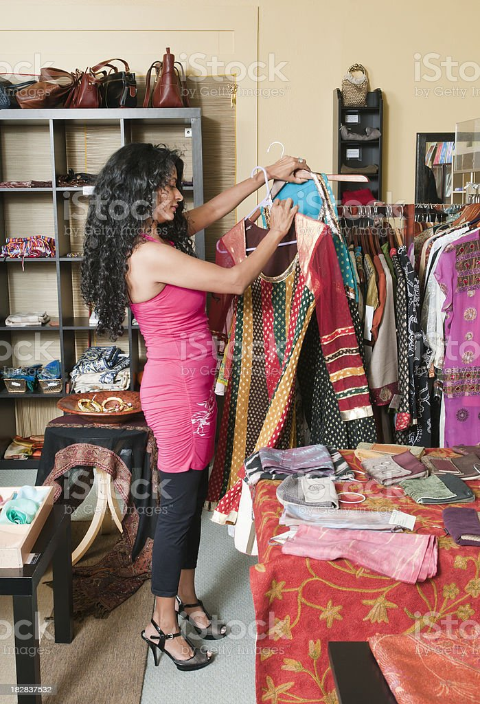 Woman Shopping at a Boutique royalty-free stock photo