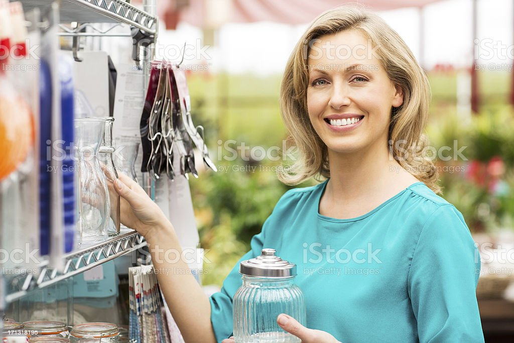 Woman Shopping At Supermarket royalty-free stock photo