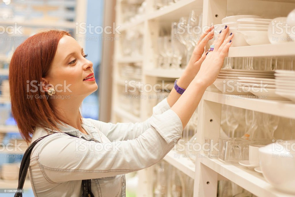 Woman Shopping at Supermarket stock photo