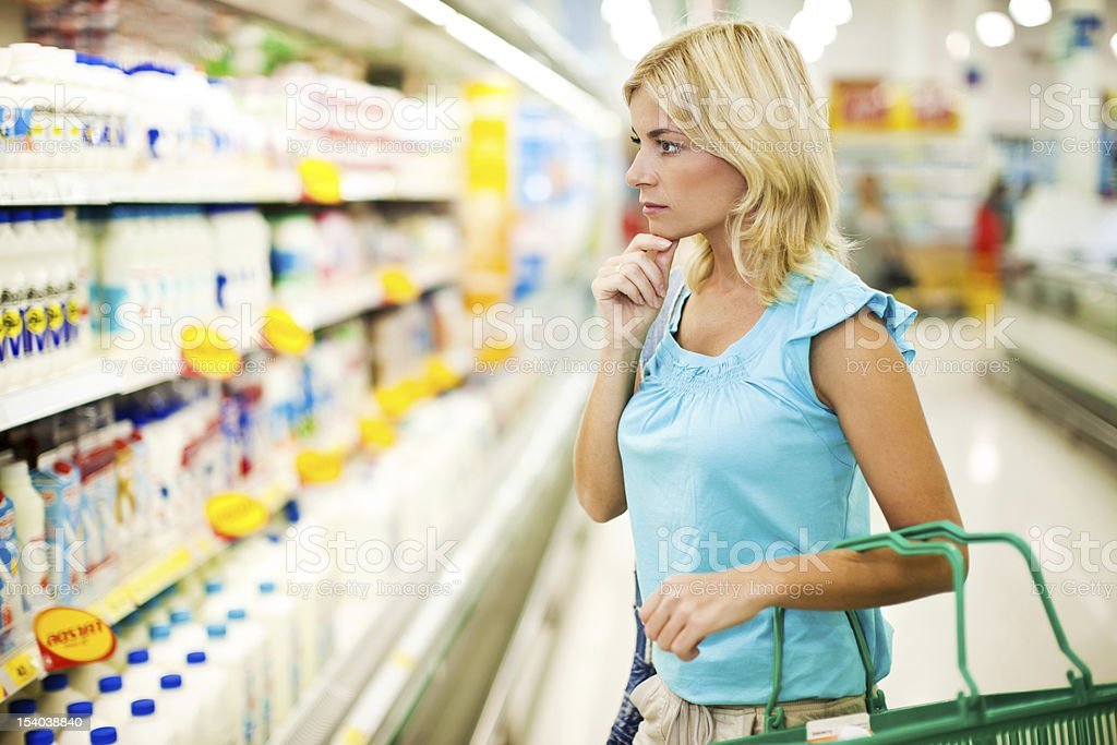 Woman shopping dairy in a food store. stock photo
