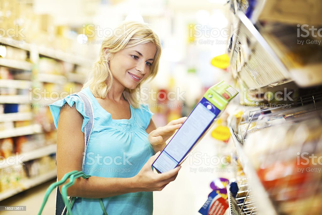 Woman shopping for cereals. royalty-free stock photo