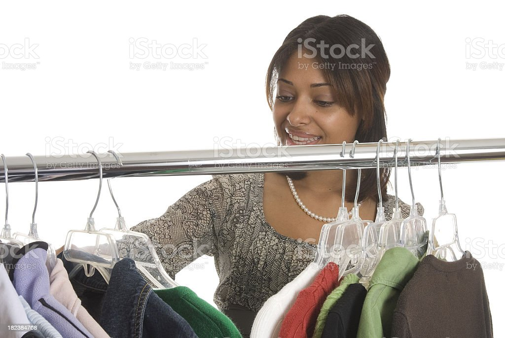 Woman Shopping For Clothes royalty-free stock photo