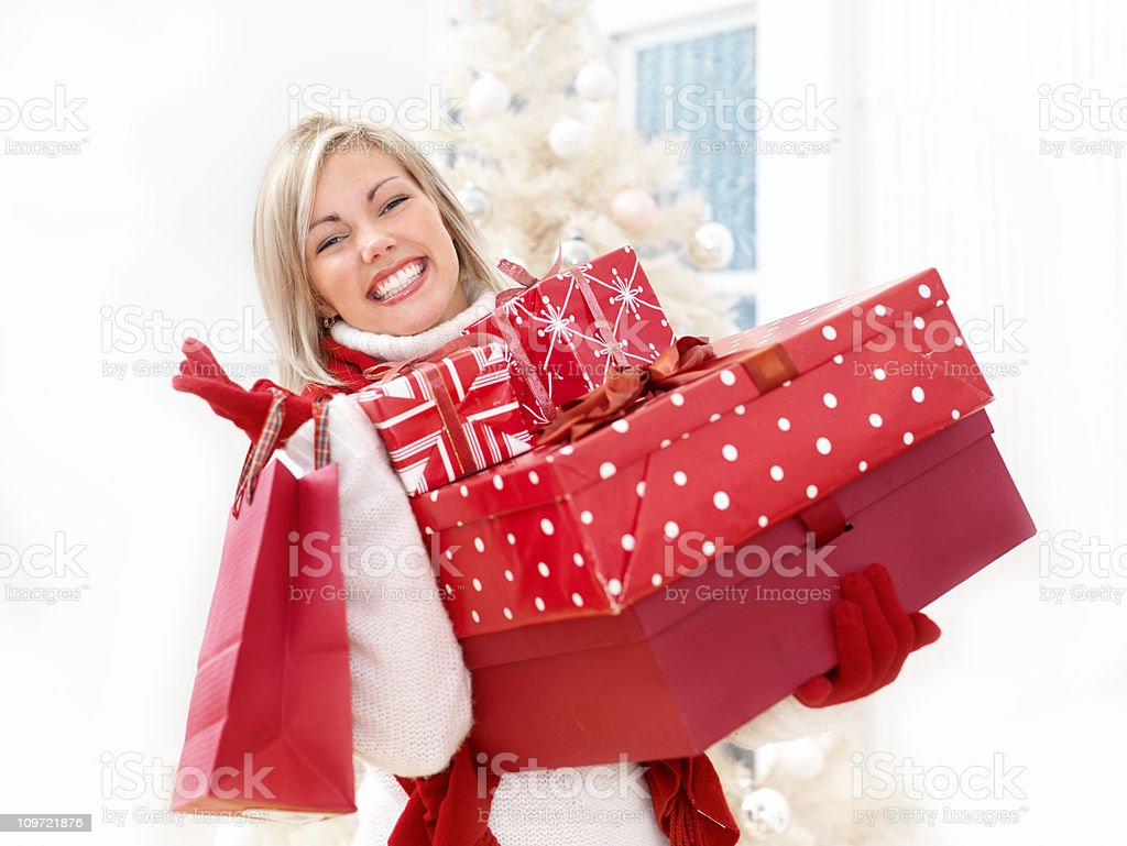 Woman shopping for gifts royalty-free stock photo