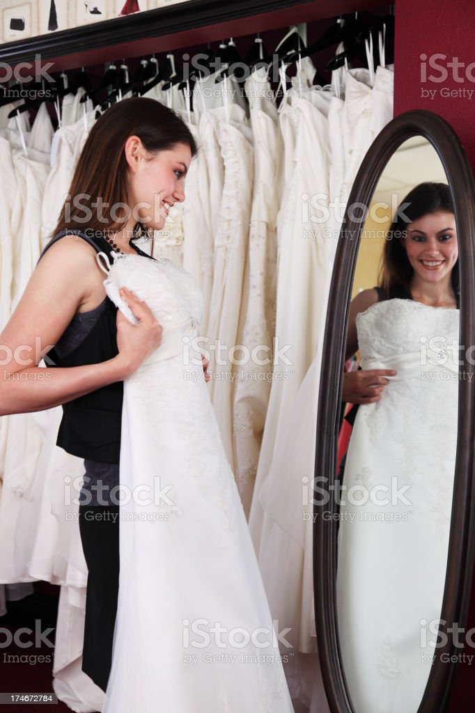 Woman Shopping For Wedding Dress royalty-free stock photo