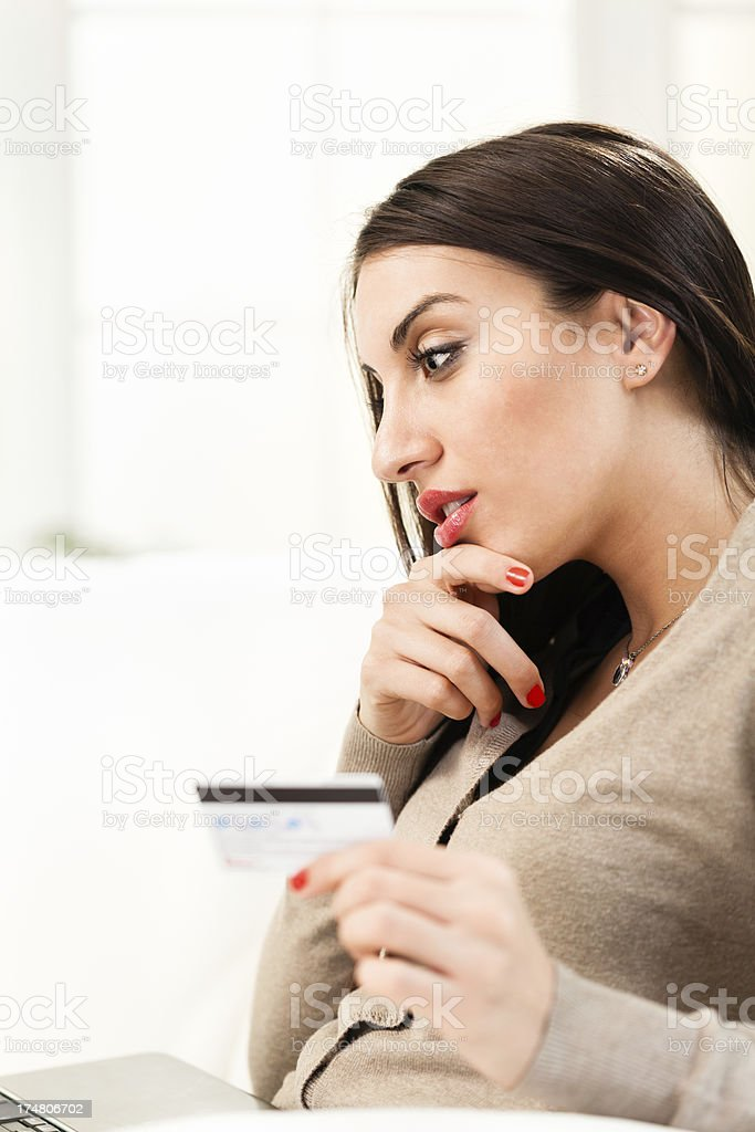 Woman shopping from home royalty-free stock photo