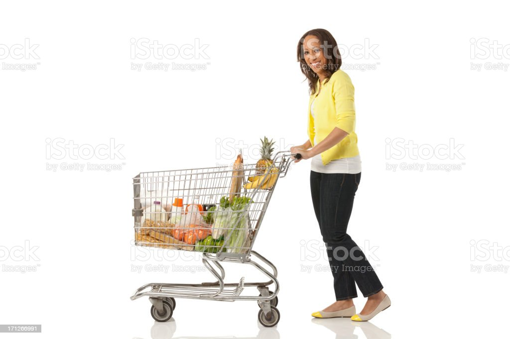 Woman shopping groceries royalty-free stock photo