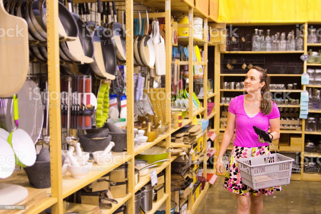 Woman Shopping Houseware in Department Store Display stock photo