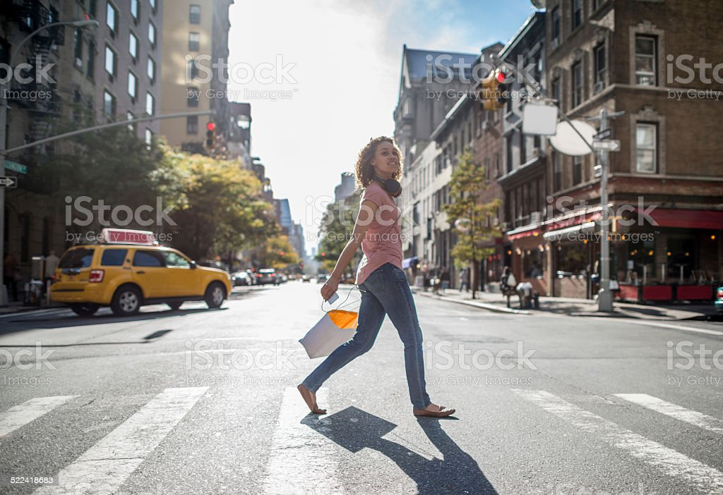 Woman shopping in NYC stock photo
