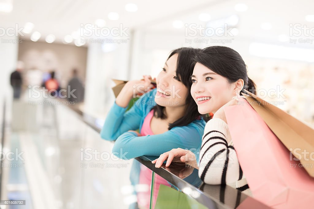 woman shopping in the mall stock photo