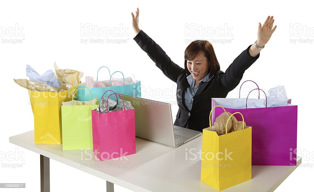Woman Shopping on Her Computer stock photo