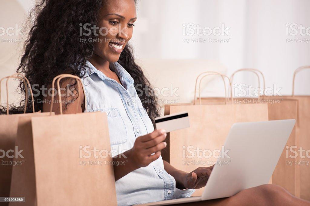 Woman shopping online. stock photo
