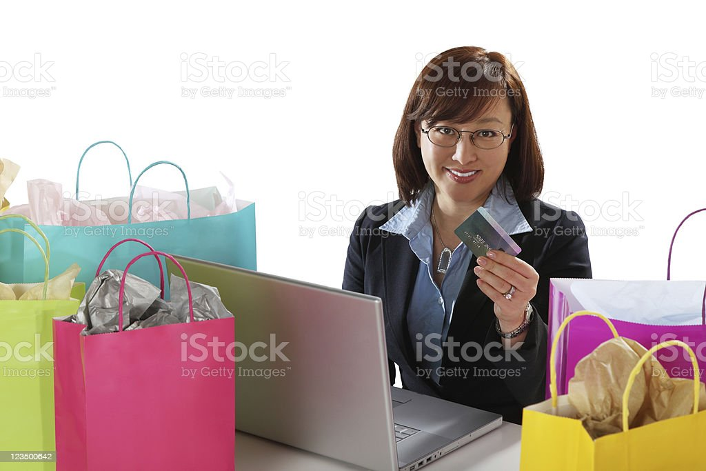 Woman Shopping Online with a Credit Card royalty-free stock photo
