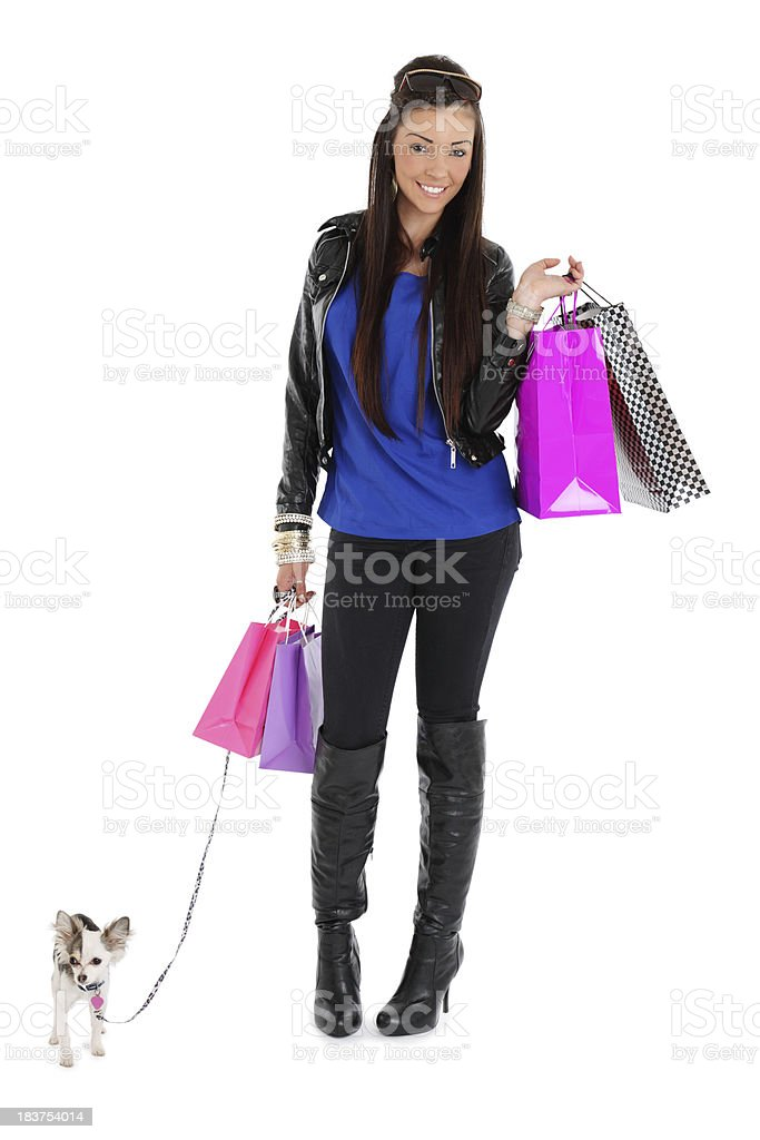 Woman Shopping With Dog royalty-free stock photo