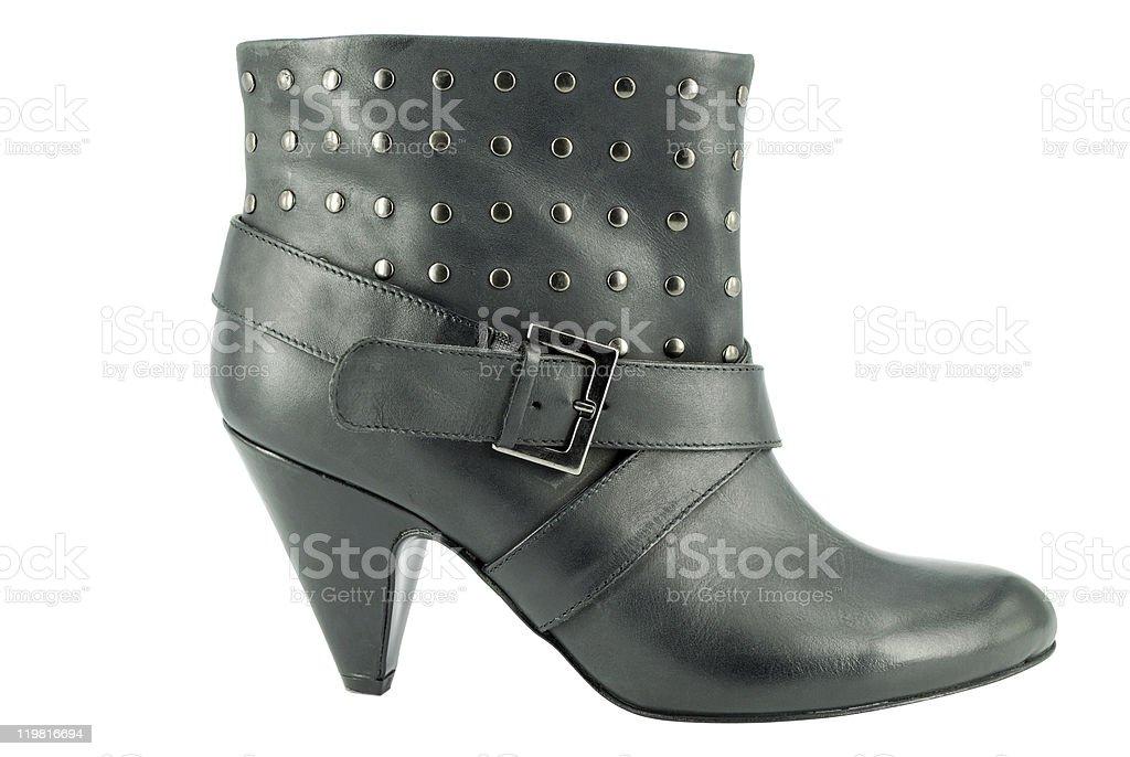 woman short black boot stock photo