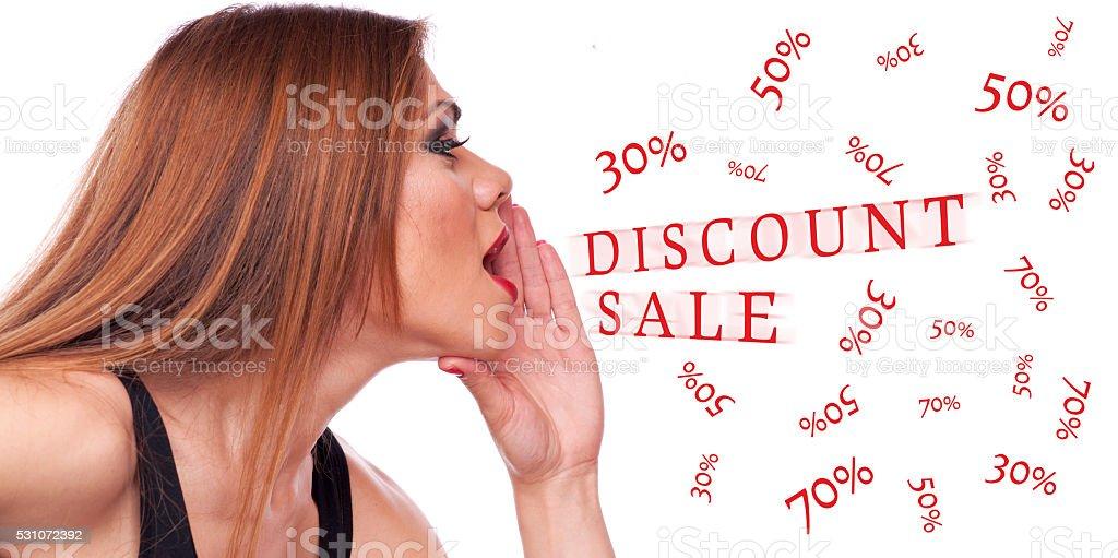 Woman shouting discount stock photo