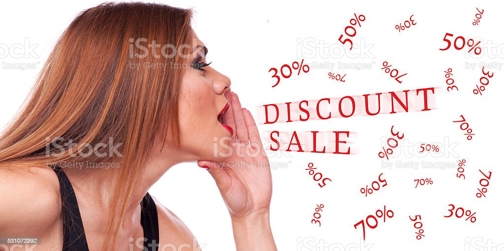 Woman shouting discount stock photo