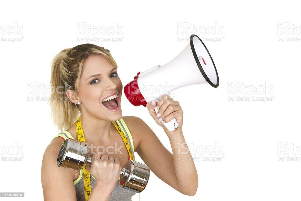 woman shouting news royalty-free stock photo