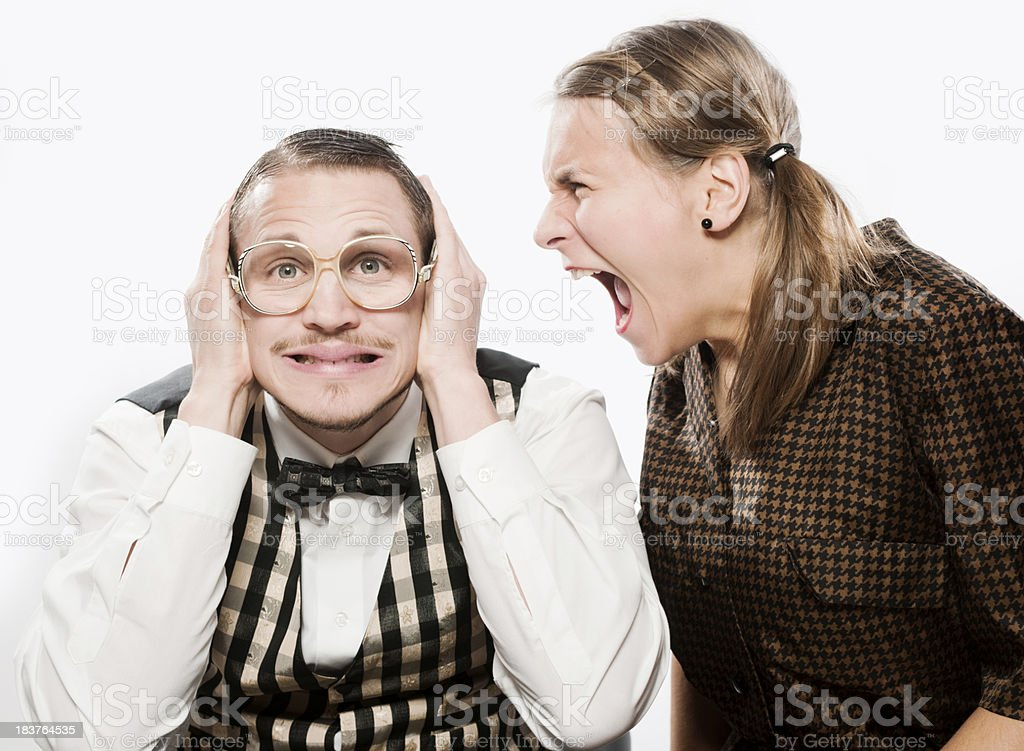 Woman shouting with nerd royalty-free stock photo