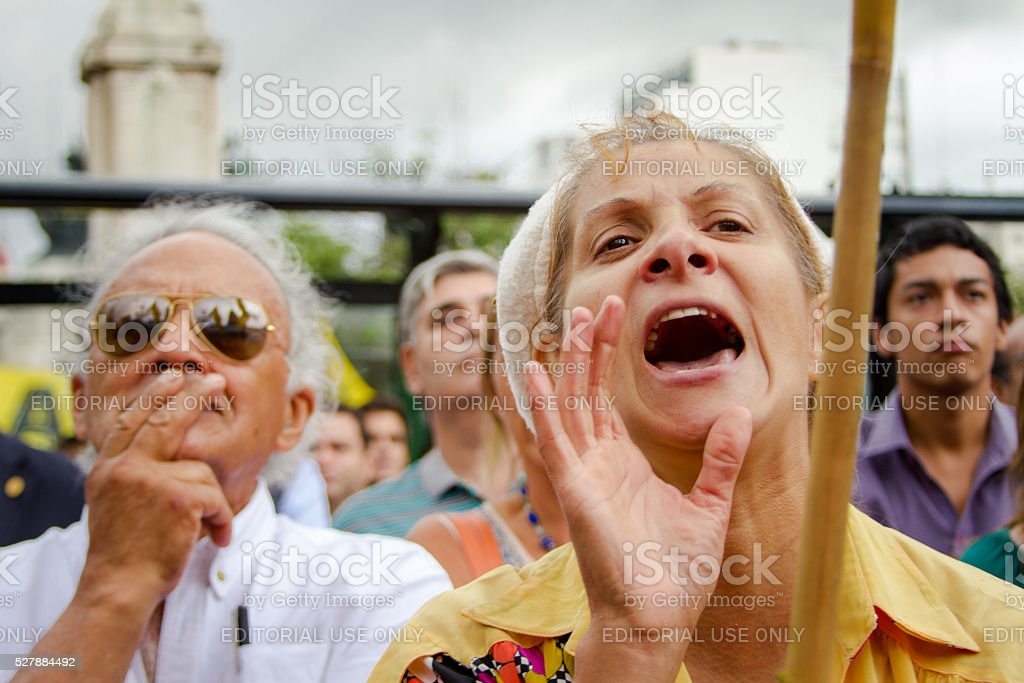 Woman shouts stock photo