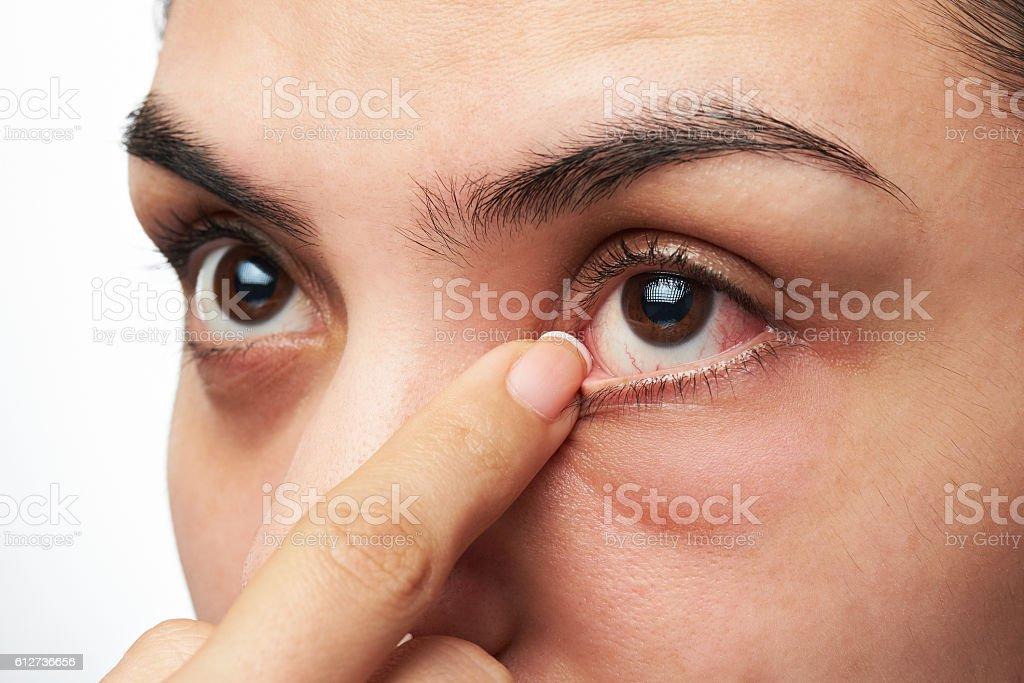 woman show her eye stock photo