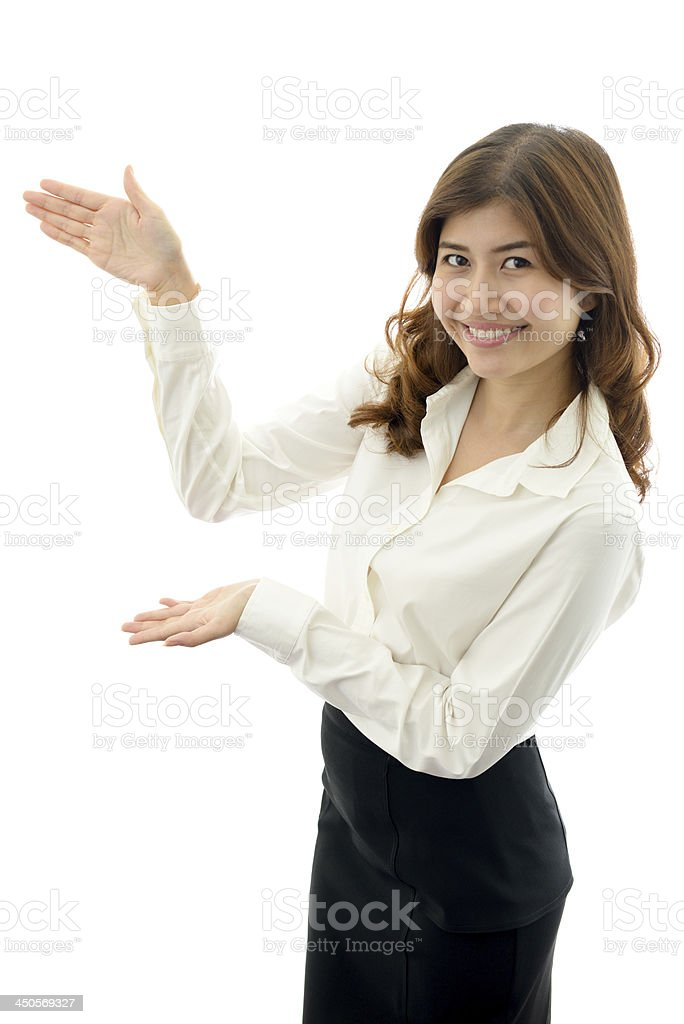 Woman showing and presenting. royalty-free stock photo