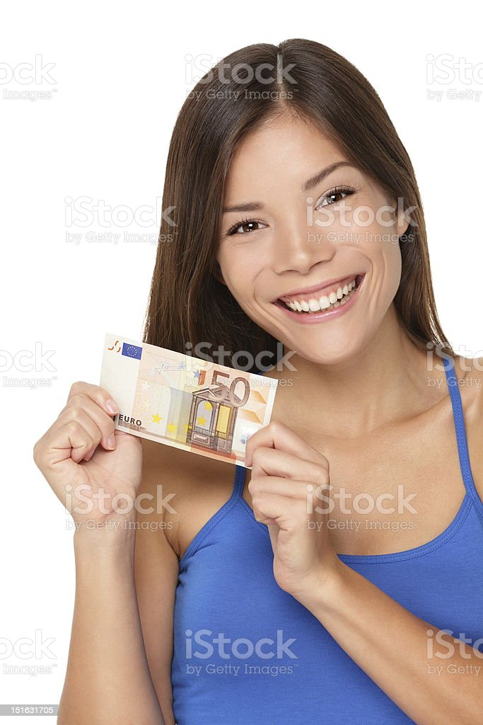 Woman showing euro money royalty-free stock photo